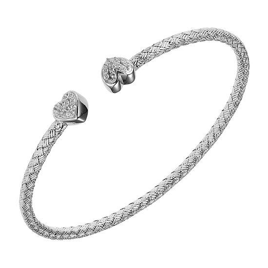 Paris 1901 By Charles Garnier Womens White Cubic Zirconia Cuff Bracelet Sterling Silver
