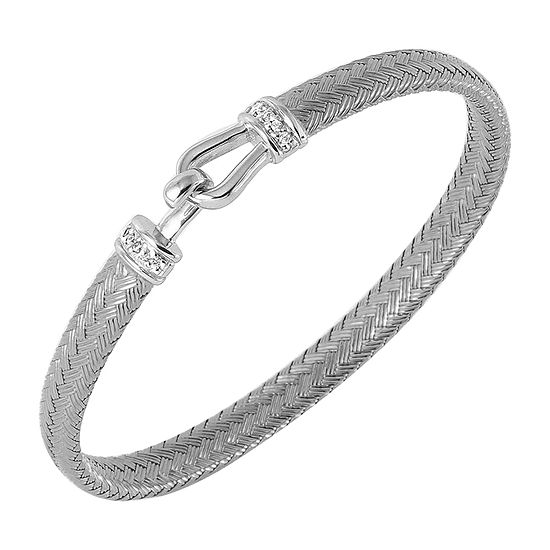 Paris 1901 By Charles Garnier White Cubic Zirconia Sterling Silver Bangle Bracelet