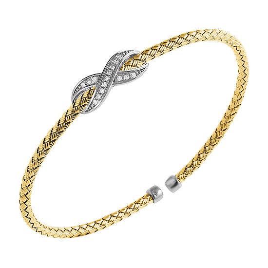 Paris 1901 By Charles Garnier Womens White Cubic Zirconia Cuff Bracelet 18K Gold Over Silver