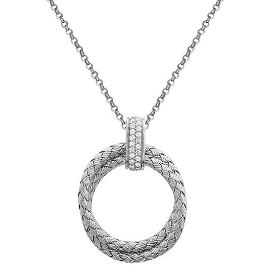 Paris 1901 By Charles Garnier Womens White Cubic Zirconia Sterling Silver Round Pendant Necklace