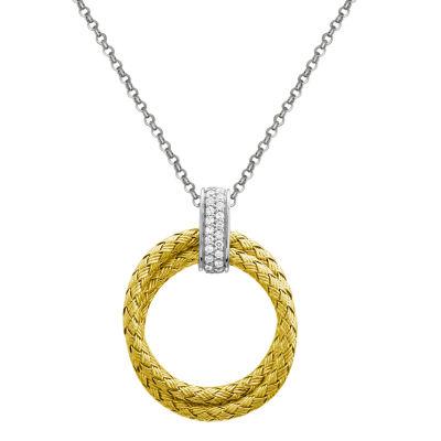 Paris 1901 By Charles Garnier Womens White Cubic Zirconia Round Pendant Necklace