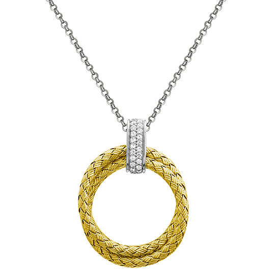 Paris 1901 By Charles Garnier Womens White Cubic Zirconia 18K Gold Over Silver Round Pendant Necklace