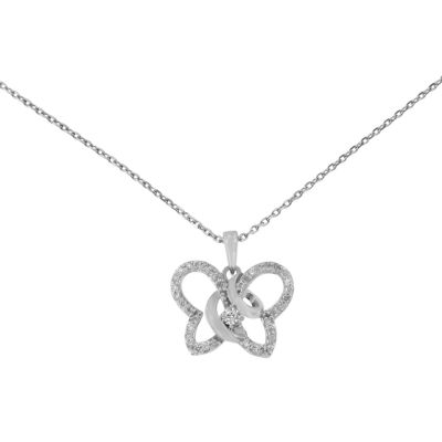 Womens 1/4 CT. T.W. Genuine White Diamond Butterfly Pendant Necklace