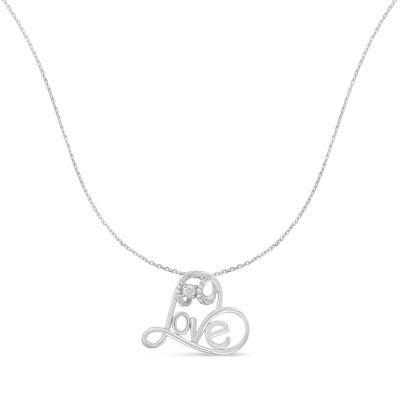 Womens 1/6 CT. T.W. Genuine White Diamond Heart Pendant Necklace