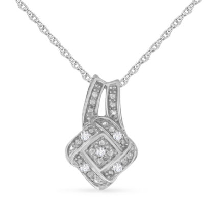 Womens 1/10 CT. T.W. Genuine White Diamond Pendant Necklace
