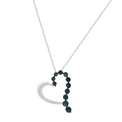 Womens 1/10 CT. T.W. Genuine Blue Diamond Sterling Silver Heart Pendant Necklace