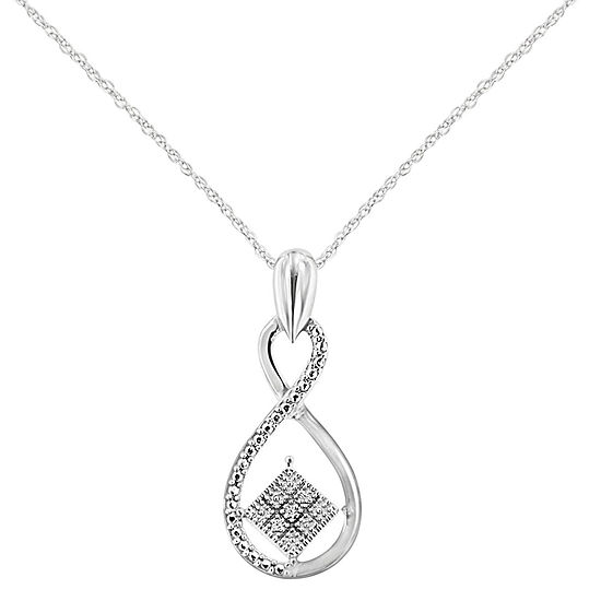 Womens Diamond Accent Genuine White Diamond Sterling Silver Infinity Pendant Necklace
