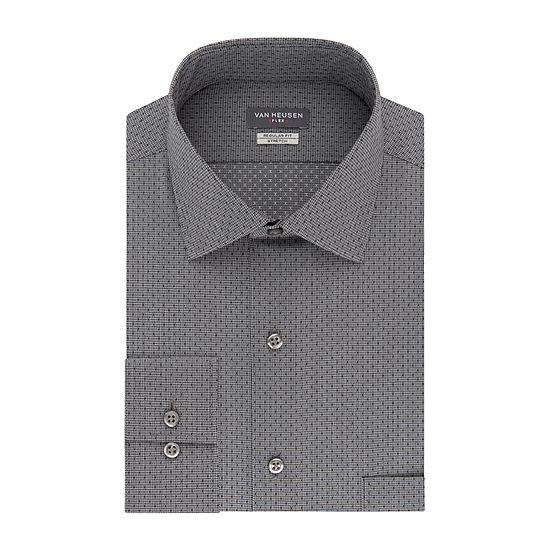 Van Heusen Flex Stretch B&T Mens Long Sleeve  Dress Shirt