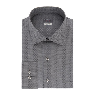 Van Heusen Vh Flex Stretch B&T Mens Spread Collar Long Sleeve Wrinkle Free Stretch Dress Shirt
