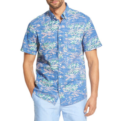IZOD Chambray Mens Short Sleeve Button-Front Shirt