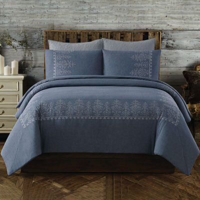 Cottage Classics Chambray Cotton Embroidered Border Duvet Cover Set