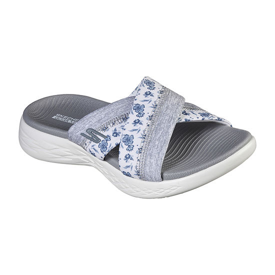 Skechers On The Go 600 Womens Criss Cross Strap Footbed Sandals