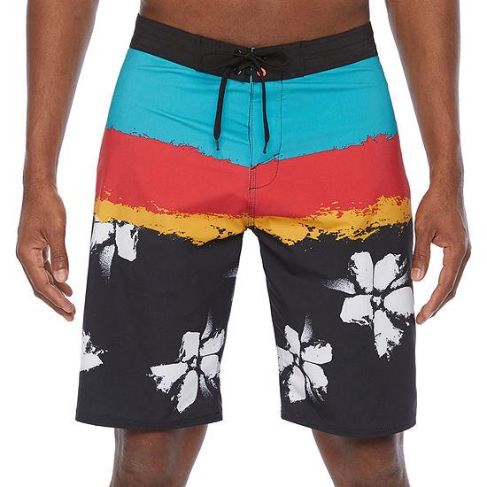 "Burnside Flower Power Men's 9 1/2"" Inseam Performance Stretch Board Shorts UPF 30"