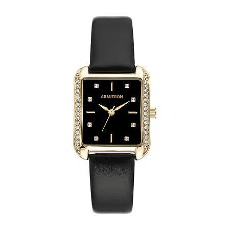 Armitron Armitron Womens Crystal Accent Black Leather Strap Watch-75/5725bkgpbk, One Size