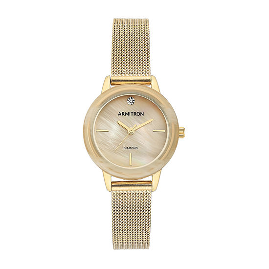 Armitron Womens Diamond Accent Gold Tone Stainless Steel Bracelet Watch - 75/5723cmgphn