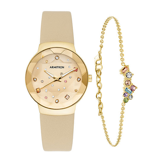 Armitron JCPenney Exclusive Womens Crystal Accent Gold Tone Leather 2-pc. Watch Boxed Set-75/5760chgpst