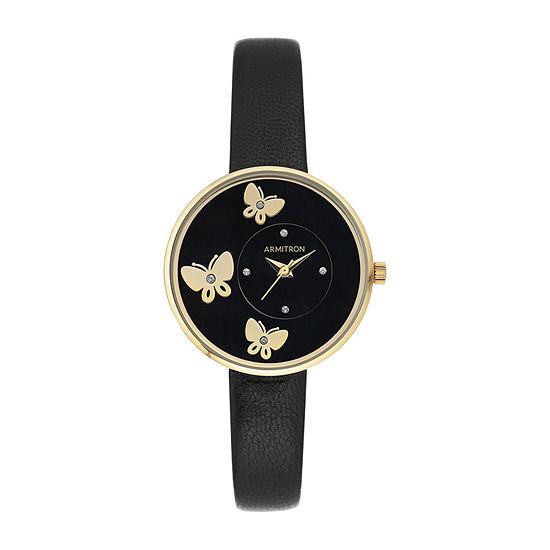 Armitron Armitron Womens Black Leather Strap Watch-75/5753bkgpbk