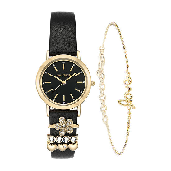 Armitron JCPenney Exclusive Womens Crystal Accent Black Leather 5-pc. Watch Boxed Set-75/5759bkgpst