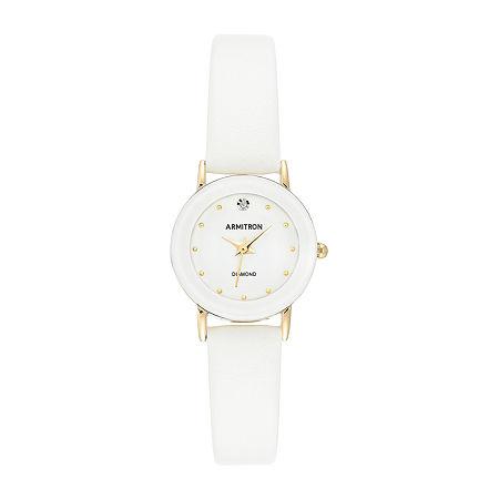 Armitron Womens Diamond Accent White Leather Strap Watch-75/2447wtgpwt, One Size