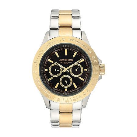 Armitron Mens Multi-Function Two Tone Stainless Steel Bracelet Watch - 20/4904bktt, One Size