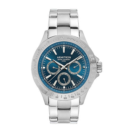 Armitron Mens Multi-Function Silver Tone Stainless Steel Bracelet Watch - 20/4904nvsv, One Size