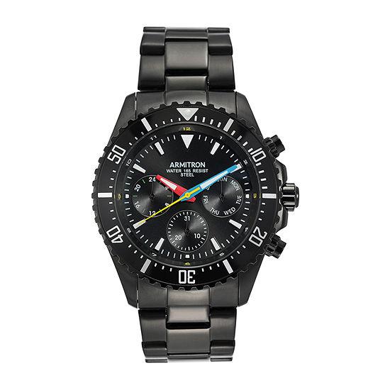 Armitron Mens Multi-Function Black Stainless Steel Bracelet Watch - 20/5351rbti