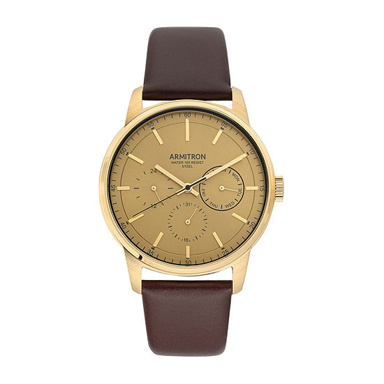 Armitron Mens Multi-Function Brown Leather Strap Watch-20/5431gdgpbn