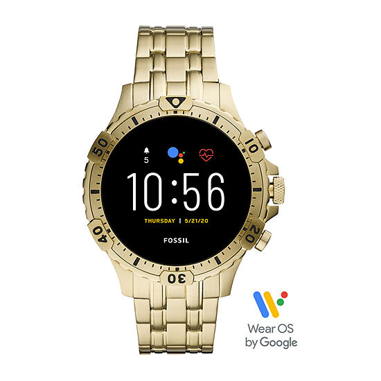 Fossil Smartwatches Gen 5 Garrett Hr Mens Multi-Function Gold Tone Stainless Steel Smart Watch-Ftw4039