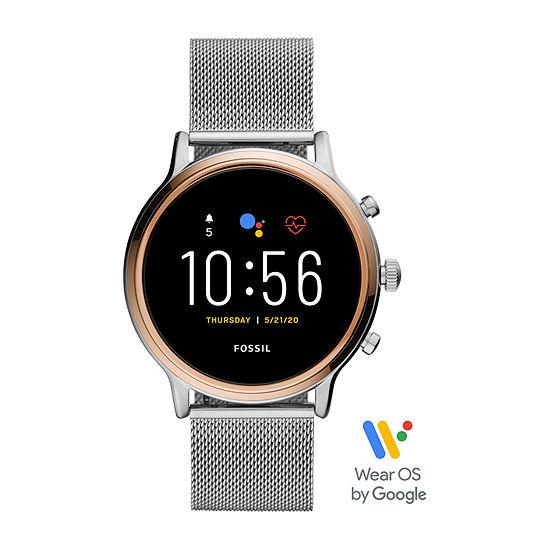 Fossil Smartwatches Gen 5 Julianna Hr Womens Multi-Function Silver Tone Stainless Steel Smart Watch-Ftw6061