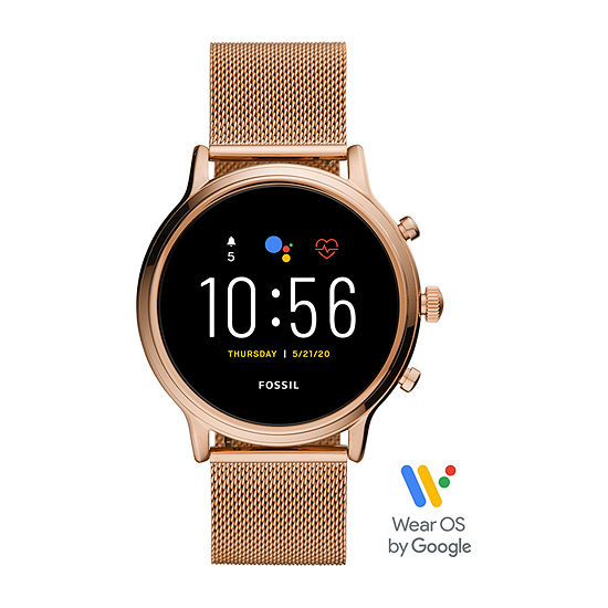 Fossil Smartwatches Gen 5 Julianna Hr Womens Multi-Function Rose Goldtone Stainless Steel Smart Watch-Ftw6062