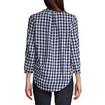 St. John's Bay Womens Button Front 3/4 Sleeve Blouse