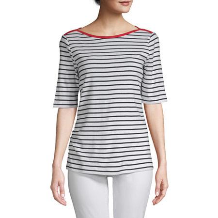 St. John's Bay-Womens Boat Neck Elbow Sleeve T-Shirt, Petite Xx-large , White