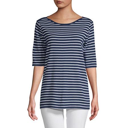 St. John's Bay-Womens Boat Neck Elbow Sleeve T-Shirt, Petite Xx-large , Blue