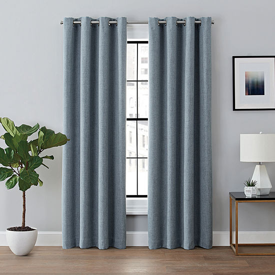 Brookstone Renwick Energy Saving 100% Blackout Grommet-Top Single Curtain Panel