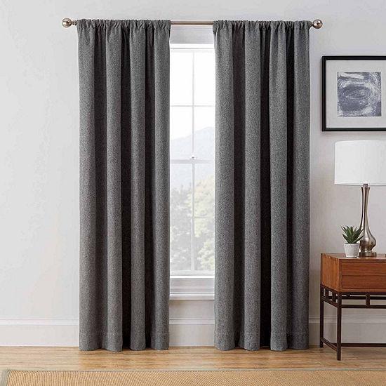 Brookstone Harvey Draft Blocker Energy Saving Light-Filtering Rod-Pocket Single Curtain Panel