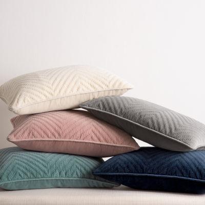 Fieldcrest Luxury Cotton Chevron Velvet Oblong Throw Pillow