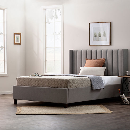 The Dream Collection by Lucid® Vertical Channel Tufted Wing-Back Platform Bed