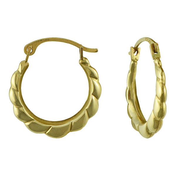 Small Scalloped Edge Hoop Earrings 10K Gold