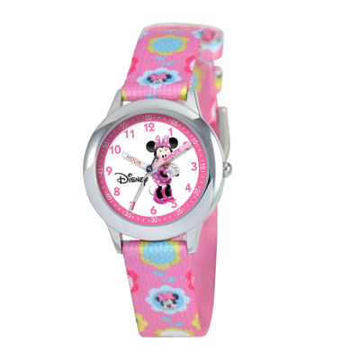 Disney Time Teacher Minnie Mouse Kids Pink Graphic Strap Watch