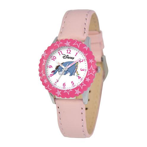 Disney Eeyore Kids Time Teacher Pink Leather Strap Watch