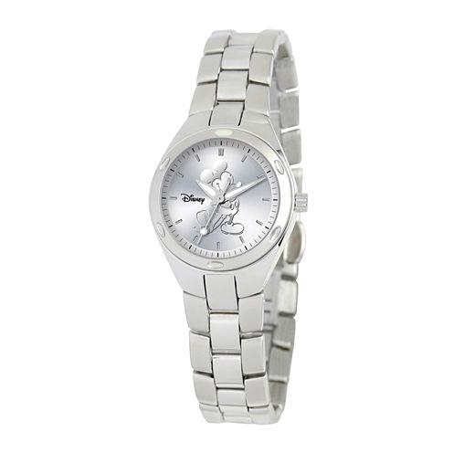 Disney Fortaleza Mickey Mouse Womens Silver-Tone Watch