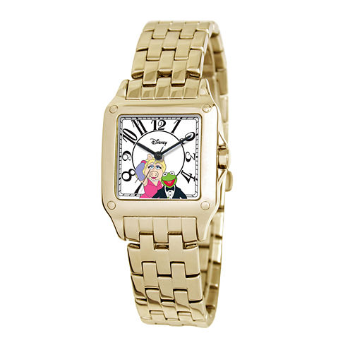 Disney Perfect Square Muppets Womens Gold-Tone Watch