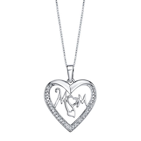 Love Grows™ 1/10 CT. T.W. Diamond Sterling Silver Mom Pendant Necklace