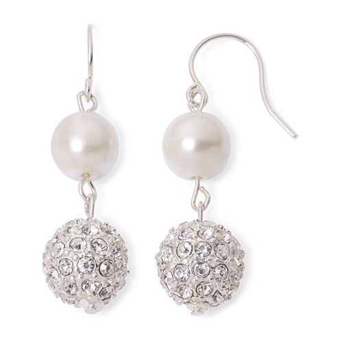 Vieste® Simulated Pearl and Crystal Fireball Double-Drop Earrings