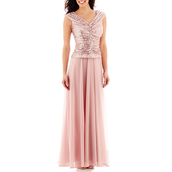 Jackie Jon Off-the-Shoulder Sequin Formal Gown