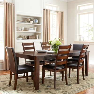 Landry 7-pc. Extendable Dining Set with 4 Ladderback Chairs and 2 Parsons Chairs