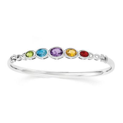 Multi-Gemstone Sterling Silver Bangle Bracelet