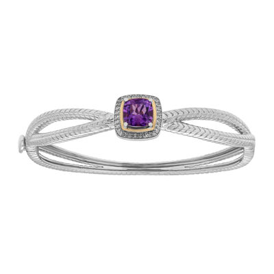 Amethyst & White Topaz Silver Bangle Bracelet with 14K Yellow Gold Accents