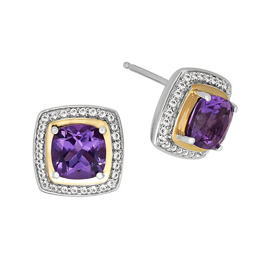 Amethyst & White Topaz  Silver with 14K Yellow Gold Earrings