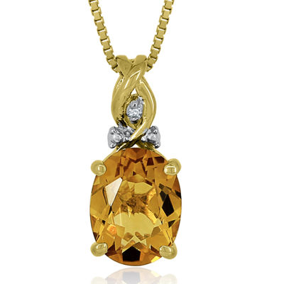 14K Gold Over Silver Citrine and Diamond Accent Pendant Necklace